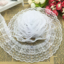 New 5 Yards 3-layer 45mm White Organza Lace Gathered Pleated Sequined Trim #-7
