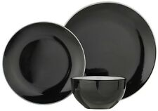 ColourMatch Two Tone 12 Piece Dinner Set - Jet Black Dishwasher and Microwave