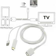 Dock to HDMI HDTV TV ADAPTER USB CABLE for Apple iPhone 4S iPad 2 3 F5