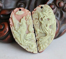 Pair 100% Natural Jade Jadeite Pendant Dragon Phoenix Couples Amulet Lucky Gift