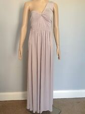 LADIES WOMENS ASOS ONE SHOULDER JERSEY CORAL GREY PLEATED MAXI DRESS SIZE 8