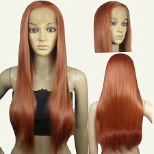 28 inch Hi_Temp Lace front Copper Red Straight  Long Cosplay DNA Wigs T350