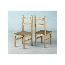 SET OF 6 X MEXICAN STYLE DISTRESSED PINE DINING CHAIRS