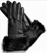 COACH Black Rabbit Fur Cuff Leather Glove Gloves Sz 7 Medium NWT $228