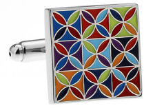 Classic Color Blooming Checkered Square Cufflinks Cuff Links NIB