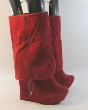 """new RED 5.5""""high wedge heel 1.5""""platform  mid-calf sexy boot  size 8.5  p"""