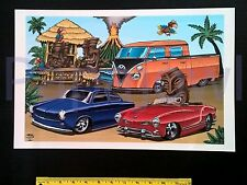 Tiki Bar Art Volkswagen Double Cab Pickup VW Karmann Ghia Fastback Poster Print