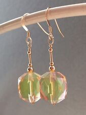 Vintage Deco Peach & Green Bi-Colour Uranium Glass & 14ct Rolled Gold Earrings