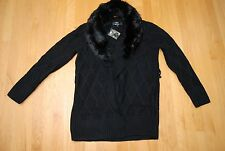 New Black Long Knit DENNIS BASSO LS Sweater w/Faux Fur Removable Collar Small