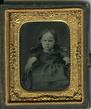 FERROTYPE petite fille boudeuse circa 1880 photo scène de genre union case 1/9