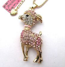 Betsey Johnson shiny Pink crystal Cute little goat pendant Necklace,#296L,F