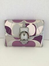 COACH WALLET SCARF PRINT MEDIUM PUPLE AUTHENTIC RARE EUC
