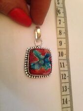 X7 ANTIQUE STYLE ! Created Dichroic Glass & 925  sterling Silver  Pendant 3.5cm