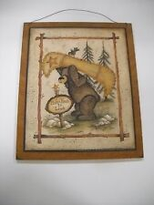 Make Time to Live Country Lodge Bear canoe Wooden Wall Art Sign Camping Decor