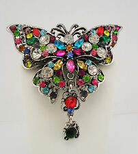Joan Rivers Multi Crystal Butterfly Brooch (w/box, pouch and romance card)