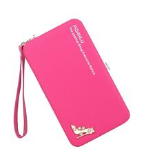 Angal Imported Fashionable Women Long PU Wallet Coin Purse phone Pouch Rose Red