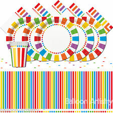 Rainbow Colours Children's Birthday Party Tableware Pack Kit Set For 16 People