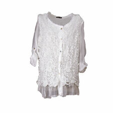 Ladies Lagenlook Italian White Silk & Lace & Chiffon Sequin One Size Blouse