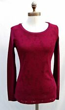 NEW!! NWT Ann Taylor Red wine overlay lace long sleeve Top Sz M