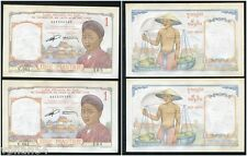 FRENCH INDOCHINA 2 x 1 PIASTRE - UNE PIASTRE - Giấy Một Đồng Consecutive # RARE