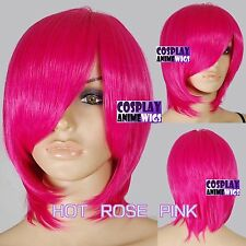40cm Hot Rose Pink Heat Styleable Long Bang Layer Base Cosplay Wig 65_HRP