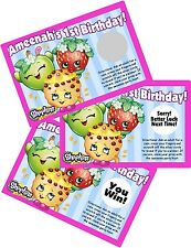 10 SHOPKINS SCRATCH OFF PARTY GAMES CARDS BIRTHDAY FAVORS SCRATCH OFFS GAME