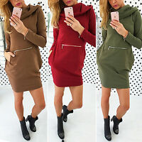 Womens Hooded Hoodies Sweatshirt Mini Dress Zipper Pockets Sweater Jumper Tops