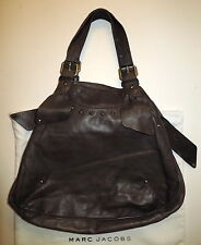 Authentic MARC JACOBS RIBBON TOTE BROWN LEATHER HOBO SATCHEL SHOULDER HANDBAG