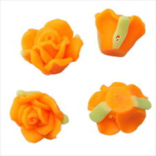 30pcs 110292+ Orange Flower Rose Charms FIMO Polymer Clay Bead 15mm FREE SHIP