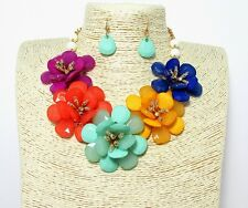 Trendy Floral Statement Necklace and earring  Jewelry Set