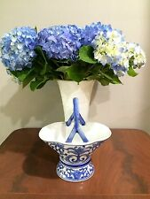 Chinese Cobalt Blue White Porcelain Handled Basket Hand Painted  Flowers EUC