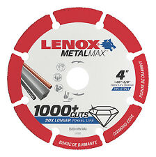 "Lenox 4"" x 5/8"" Hole Metal Max Diamond Edge Cut Off Wheel,1,000+cuts #1972920"