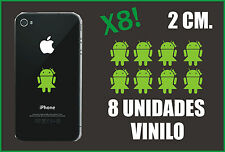 8 UNID. - PEGATINAS - STICKERS - LADY ANDROID - VERDE LIMA - 2 CM -VINILO IPHONE