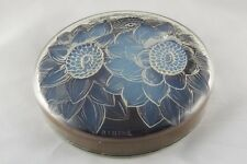 "FINE FRENCH LALIQUE ""TROIS DAHLIAS"" OPALESCENT GLASS & SILK BOX, MODEL N° 1659/4"
