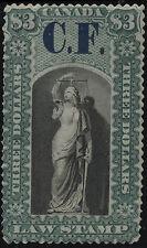 Canada VanDam # OL13 $3.00 green&black Ontario Law of 1864 ovpt. CF in blue