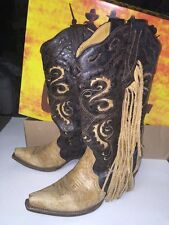 Excellent CORRAL Womens HTF Leather Saltillo Inlay Fringed Cowgirl Boots Sz 7