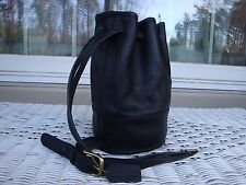 Coach Vintage Black Leather Drawstring Bucket Sling Bag Hobo Purse Shoulderbag