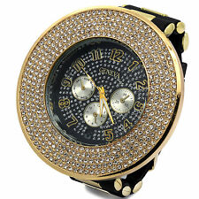 Mens Gold Black Iced out Hip Hop Fashion Silicone Quartz Wrist Indiglo watch