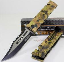"""9"""" TAC-FORCE Jungle Camo Bowie Sawback Spring Assisted Opening Rescue Knife"""
