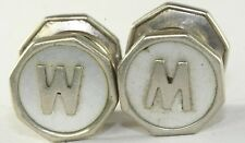 VTG PIONEER MOTHER OF PEARL LETTER INITIAL M W SNAP LINK CUFFLINKS