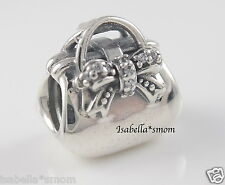 SPARKLING HANDBAG 100% Genuine PANDORA Silver~Zirconia PURSE~BAG Charm/Bead NEW