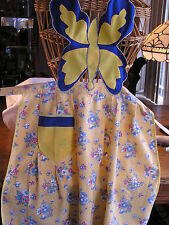 Vintage/Antique Embroidered 1920's Apron: Butterfly Bib, Wonderful Skirt Fabric