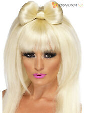 Ladies Pop Sensation Wig + Bow Adult Gaga Long Blonde Fancy Dress Costume