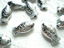 15 TIBETAN SILVER DETAILED FISH SPACER BEADS Jewellery Findings 17mm