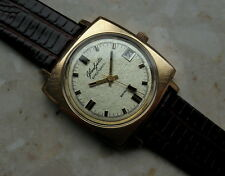 GLASHUTTE  spezimatic 26 rubis BEAUTIFUL DIAL GOLD PLATED SQUARE CASE SHIPP FREE