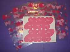 NEW 48ea Valentine's Day Treat Bags 7 x 5 1/2 Random Hearts + To/From Stickers
