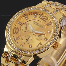 Geneva Crystal Women Gold Stainless Steel Analog Quartz Lady Wrist Watch Gift