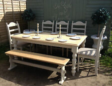 Shabby chic large (6 feet) farmhouse table, 6 chairs and bench comb seats 9