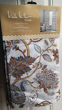 Nicole Miller Gray Rust Orange Floral Paisley Window Curtain Panels 52x96 PAIR