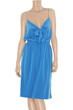 brand new !00% DKNY by DONNA KARAN bright blue SILK SLIP DRESS-sz large uk12 /14